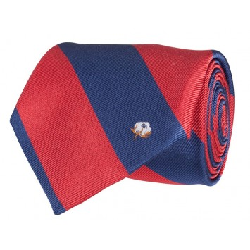 Cotton Boll Tie: Red & Navy Stripe